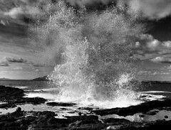 Black and white crashing wave (michaelcummings99) Tags: blackandwhite water canon scotland landscapes waves crashingwave mirrorlesscamera canoneosm