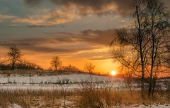 Winter dreams 2 (piotrekfil) Tags: trees winter sunset sky sun snow nature clouds landscape pentax poland piotrfil
