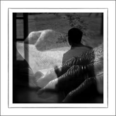 F_DSC1515-BW-1-Nikon D300S-Lensbaby Scout-Double Glass-50mm-May Lee  (May-margy) Tags: portrait bw sunlight house blur silhouette lensbaby 50mm book hands backyard bokeh scout    multiexposure taipeicity  japanes             doubleglass corridoroftime nikond300s maymargy maylee  mylensandmyimagination streetviewphotographytaiwan  naturalcoincidencethrumylens   linesformandlightandshadows  fdsc1515bw1