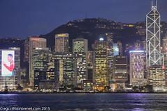 evening view from Tsim Sha Tsui Clock Tower towards Central (egcc) Tags: sea water skyscraper buildings hongkong lights dusk central shangrila illuminated kowloon conrad lippo lightroom victoriaharbour swire