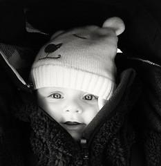 """Ma merveille """"EXPLORE"""" (Marie-Laure Larère) Tags: blackandwhite bw noiretblanc explorer bonnet sourire bébé"""