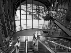 South Concourse B&W (tubblesnap) Tags: camera new bridge bw white black station river fuji south escalator leeds entrance railway adobe wharf hybrid aire hdr concourse granary lightroom tonemapped xs1