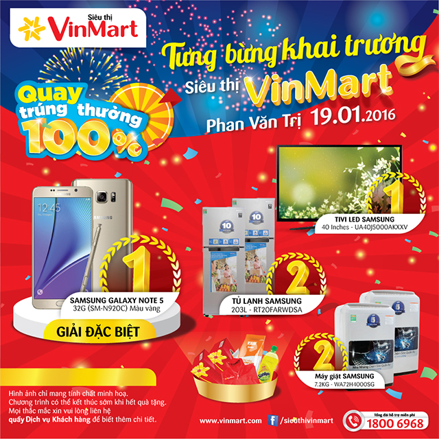Khai trương siêu thị VinMart Phan Văn Trị: Mua hàng ngay - quay số trúng giải