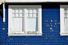 Southern exposure (James_D_Images) Tags: blue windows shadow sunlight white window frames peeling paint bright britishcolumbia shake weathered crescentbeach siding