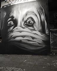 Trans1 (cocabeenslinky) Tags: street city uk england urban blackandwhite bw woman white streetart black london art face scarf lumix graffiti march paint artist photos character south united capital kingdom tunnel can spray east panasonic waterloo and graff leake se1 artiste 2015 dmcg6 ©cocabeenslinky