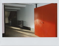 (natasha simba) Tags: shadow red urban sunlight white film fuji russia geometry moscow urbandecay wide nopeople instant fujifilm barrier filmcamera instantcamera lightandshadow barricade instax moscowmetro instantfilm peopleless
