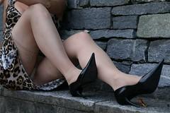 showing off (feldhaze) Tags: stockings wall highheels stones skirt nylons