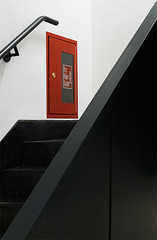 Colour and shapes (Brian L55) Tags: red black stairs rail diagonal bannister