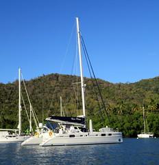 Once in a Blue Moon... (oobwoodman) Tags: sea mer sailboat boot boat meer catamaran caribbean bateau stlucia segelboot voilier bluemoon carabes marigotbay westindies karibik saintlucia