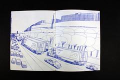 """2001,"" by Wesley Willis (MCAD Library) Tags: 2001 pendrawing wesleywillis mcad mcadlibrary mcadartistsbookcollection drawingimagemaking citiesandtownsinart"