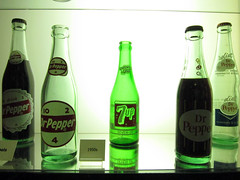 Dr Pepper bottles (pr0digie) Tags: green history glass museum factory waco bottles drpepper 1950s cans 7up