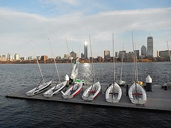 Sailboat pavilion (hansntareen) Tags: light reflection tower boston river boats shiny hancock beacon shining