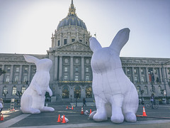 Giant bunnies (flrent) Tags: sf california light rabbit art public giant san francisco center civic rabbits intrude