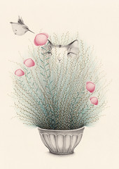 (Limn Celeste) Tags: floral illustration cat hummingbird draw planter ilustracion dainty