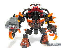 The completed built of Infernox (WhiteFang (Eurobricks)) Tags: monster hammer fire volcano book robot wings king power lego bad evil kingdom battle medieval flame knights level future inferno beast ash shield mecha mech baddies nexo