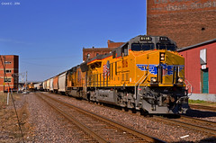 """UP Trains in Kansas City, MO (""""Righteous"""" Grant G.) Tags: city railroad west up train power pacific union engine railway trains east clean missouri bottoms kansas locomotive ge freight eastbound manifest emd"""