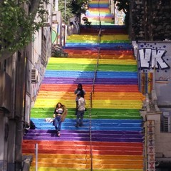 Stairs in Istanbul (ashabot) Tags: travel colors citylife cities istanbul citystreets streetscenes peoplewatching peopleoftheworld worldcities