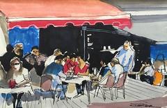Boceto en blog de sketch para prxima obra de terraza en Pars.Estudio de luces y colores. (FERRAN-ART) Tags: paisajes mar sketch bowie arte gente lagos retratos ros dibujo pintura montaas acuarelas exposiciones acrlicos leos