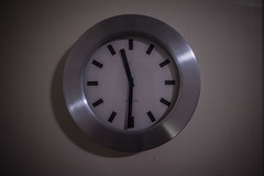 Clock (Evan's Life Through The Lens) Tags: camera new cold color clock college glass wall contrast vintage dark lens is minolta time room sony dorm 28mm bland now f28 lack a7s