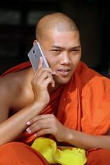 Seeking Advice From A Higher Power? (Alan1954) Tags: orange man asia candid yangon burma buddhist mobilephone myanmar platinumpeaceaward fargoon
