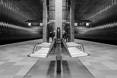 Subway Seat (frank_w_aus_l) Tags: city bw monochrome germany underground subway de deutschland seat hamburg bahnhof ubahn sw sitz stadtmbel sitzmbel berseequartier nikondf