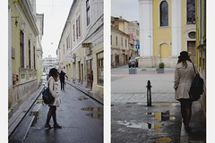 andr (ConcreteLies) Tags: road girl hat yellow female buildings puddle outside outdoors diptych mud pavement cream jacket backpack andr