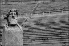 (Georgina ) Tags: blackandwhite male monochrome statue beard head athens greece