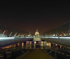 Millennium Bridge & St Pauls by night ( Explore #135 6/1/16) (GillWilson) Tags: london millenniumbridge stpaulscathedral riverthames