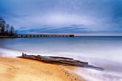 2 mins of salmon (dK.i photography) Tags: longexposure beach clouds sunrise landscape dawn pier maryland driftwood pasadena chesapeakebay waterscape downspark singhray rgnd