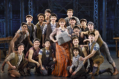 "Morgan Keene (Katherine) and the Newsies in the Broadway Sacramento presentation of ""Newsies"" at the Sacramento Community Center Theater April 12 – 17, 2016.  ©Disney.  Photo by Deen van Meer."