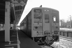 Horonobe on DEC 23, 2015 (1) (wakkanai097) Tags: trip bw monochrome japan nikon hokkaido trains jr railways p7700
