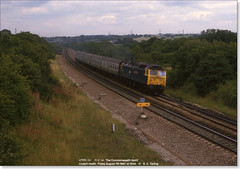 47555 'The Commonwealth Spirit' heads west through Coalpit Heath on the 1342 Derby-Exeter relief, August 7th 1987 (Bristol RE) Tags: bristol 47 coalpitheath 1717 class47 47126 d1717 thecommonwealthspirit 47555
