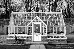 Walking around the greenhouse (Photowizz2012) Tags: red building girl monochrome architecture walking fuji victorian historic greenhouse schlossdyck xt10 alitex fujinon35mmf14
