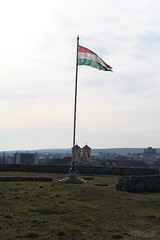 Hungarian flag at Castle Eger (GaborCseh) Tags: mountain tower castle stone wall landscape memorial hungary outdoor flag eger wave battle bastion stronghold fortress siege burg 1552 dobo fightforfreedom