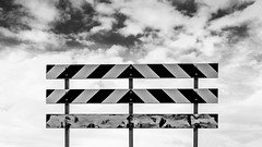 Three Stop Warning (Mabry Campbell) Tags: blackandwhite usa white newmexico santafe clouds warning landscape photography countryside photo december photographer image unitedstatesofamerica hasselblad photograph barrier 100 f80 warningsign fineartphotography 80mm 2015 commercialphotography santafecounty hc80 sec mabrycampbell h5d50c december262015 20151226campbellb0000252
