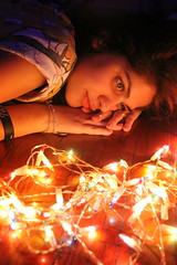 Christmas (evelynbonarrigo) Tags: christmas canon lights navidad luces model think modelo fotos pensativa photogaphy fotogtafia
