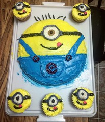 My brother made a Minions cake for my sisters birthday yesterday. (TheSamuelYears) Tags: blue yellow cake square squareformat hudson minions minion iphoneography despicableme instagramapp uploaded:by=instagram
