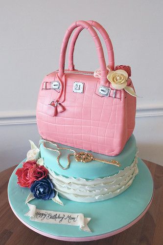 Purse Cake on Ruffle Cake