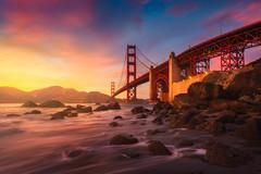 Guide the Light (albert dros) Tags: california bridge sunset usa seascape water america rocks goldengate albertdros