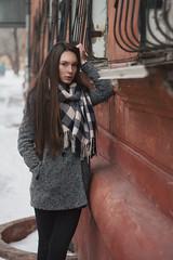 Sasha (ivankopchenov) Tags: city winter portrait cold girl wall natural outdoor young naturallight