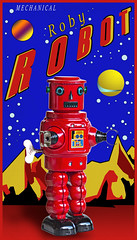 02468816-72-Roby Robot in Space-2 (Jim would like to get on Explore this year) Tags: red art childhood photoshop advertising toy tin robot space 85mm retro popart roby windup hdr childlike canon5dmarkiii