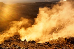 Steaming Earth (blue polaris) Tags: park new red sunrise landscape island vent volcano crossing north lakes steam zealand alpine national crater valley tongariro northern volcanic circuit emerald fumarole oturere