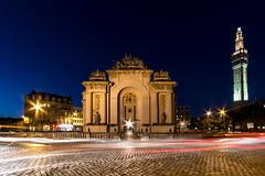 Porte de paris  Lille (lecointelaetitia) Tags: voyage city longexposure travel france night lights nikon wideangle lille nor nuit nordpasdecalais ville lumires expositionlongue grandangle sigma1020