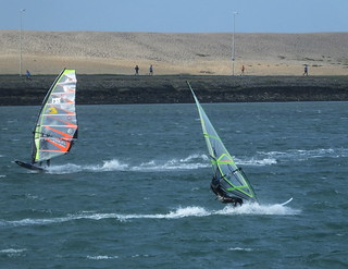 Chesil Beach causeway to Portland - road, half marathon and elite wind-surfers - explore 8 Feb 2016