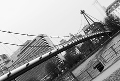 Holbeinsteg (HansPermana) Tags: city bridge winter blackandwhite cold monochrome lines river germany deutschland cityscape crossing riverside cloudy frankfurt main diagonal