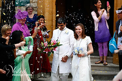Confetti after their civil ceremony! Rupesh and Virgina's wedding day in Oxford by Veiled Productions - wedding photography and videography Cambridgeshire