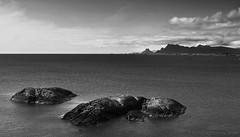 I'm a rock, I'm an island (lunaryuna) Tags: sea summer bw seascape monochrome norway coast blackwhite rocks lunaryuna lofotenislands norwegiansea summerabovethearcticcircle lofotenarchipelago