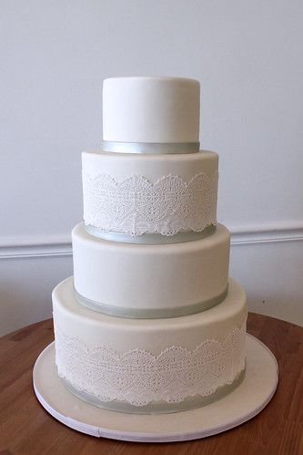 Simple Sugar Lace Wedding Cake with Silver Ribbon