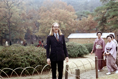 31-278 (ndpa / s. lundeen, archivist) Tags: city winter man color building fall film japan 35mm garden japanese tokyo glasses clothing women nick shibuya longhair citylife tie tourist clothes suit blond american blonde nd kimono mustache 1970s eyeglasses 1972 31 grounds kimonos meijishrine dewolf imperialgarden honshu traditionalclothing nickdewolf photographbynickdewolf reel31 meijishrineimperialgarden