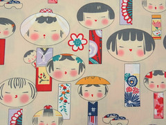 2667A -- Kawaii Kokeshi Doll Fabric in Bisque, Japanese Doll Fabric (ikoplus) Tags: cute japanese for clothing doll bisque fabric commercial kawaii quilting supplies kokeshi yardage zakka 2667a ikoplusfabric